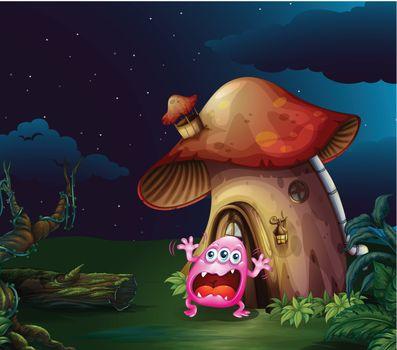 A scared monster near the mushroom house