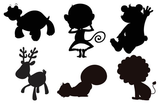 Illustration of the different animals in black, gray and brown colors on a white background