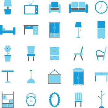 Furniture color icons on white background