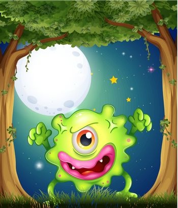 A forest with a one-eyed green monster