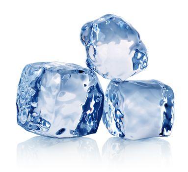 Three ice crystals