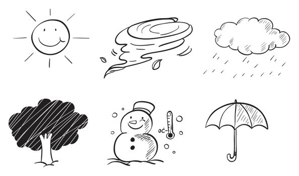 Illustration of the different kinds of weather on a white background