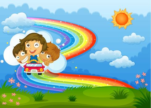 Kids riding on a vehicle passing through the rainbow