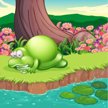A monster lying at the riverbank