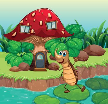 A cockroach dancing in front of a mushroom house