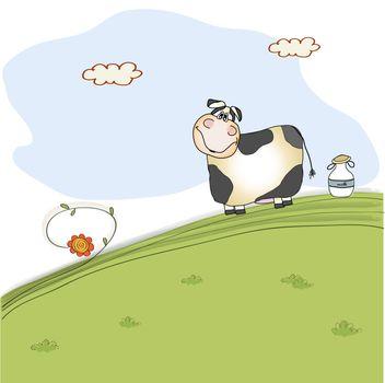 cute cow on meadow