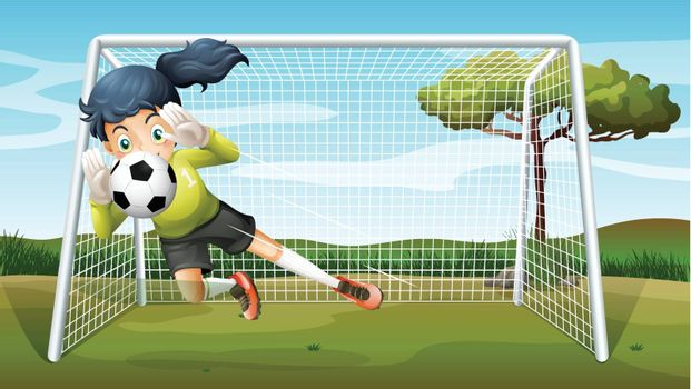 Illustration of a sporty young girl playing football
