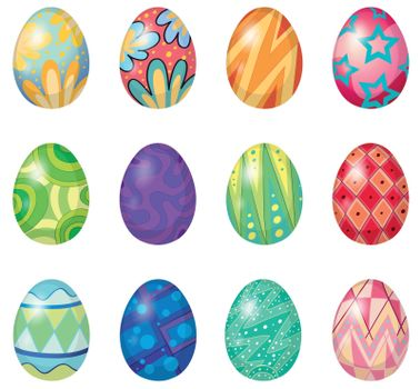 Illustration of twelve easter eggs on a white background