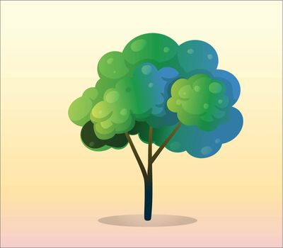 Illustration of a big green tree on a white background