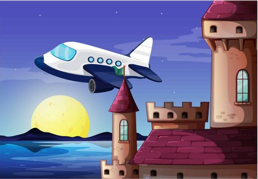 Illustration of an airplane near the castle