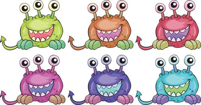 Six three-eyed aliens