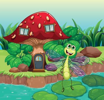 A giant mushroom house with a dragonfly