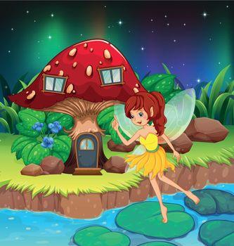 A fairy flying near the red mushroom house