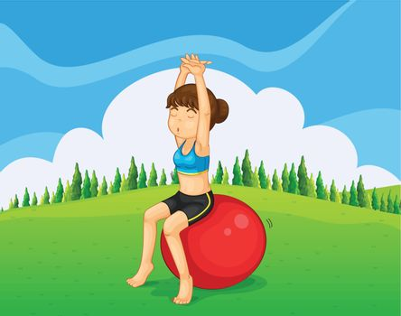 A teenager exercising at the hilltop with a bouncing ball
