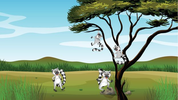 Illustration of wild animals playing in the tree