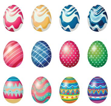 Illustration of the easter eggs for the easter Sunday egg hunt on a white background