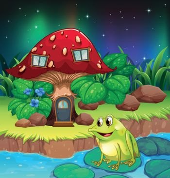 A frog near the giant red mushroom house