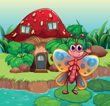 A giant mushroom house near the river with a butterfly