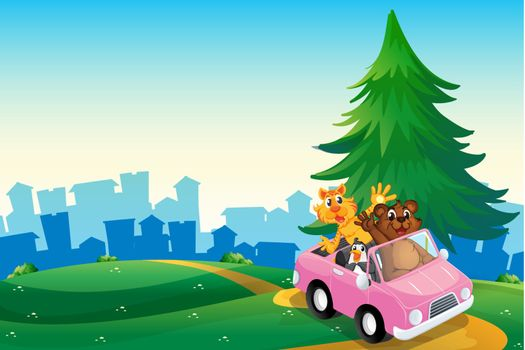 Illustration of a pink car with animals running at the hilltop