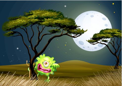 A scared one-eyed monster under the fullmoon