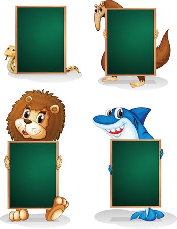 Illustration of the four animals holding an empty board on a white background