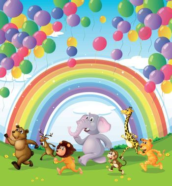 Illustration of animals racing below the floating balloons and rainbow