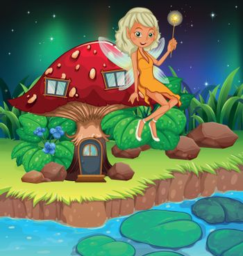 A fairy above the red mushroom house