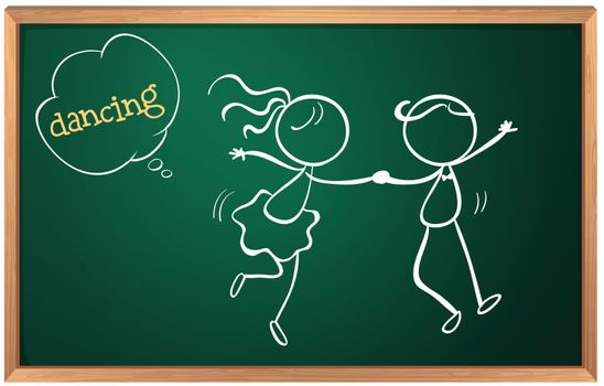 Illustration of a blackboard with a sketch of two people dancing on a white background