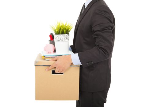 fired businessman carrying his belongings