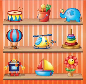 Toy collections that are properly arranged in the wooden shelves
