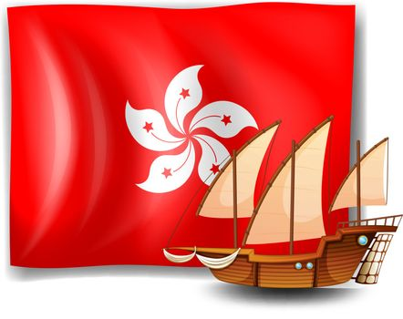 Illustration of the flag of Hongkong with a ship on a white background