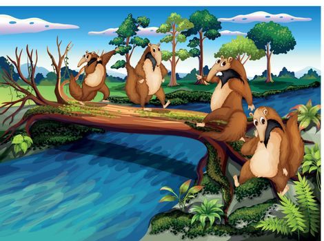 Illustration of the four playful wild animals crossing the river