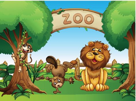 Illustration of the animals in the zoo