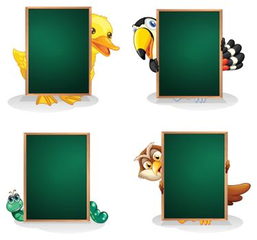 Illustration of the empty green boards with animals at the back on a white background