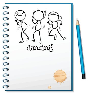 Illustration of a notebook with a sketch of three people dancing on a white background