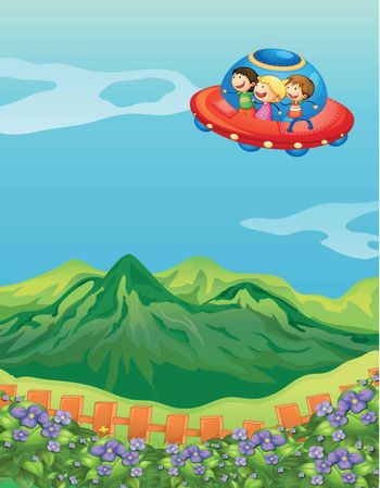 Illustration of kids and a saucer ship in a beautiful nature