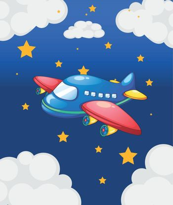 Illustration of a plane in the sky with many stars