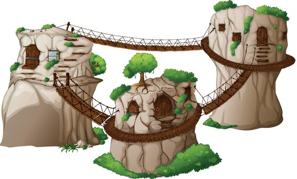 Illustration of the tree houses with hanging bridges on a white background
