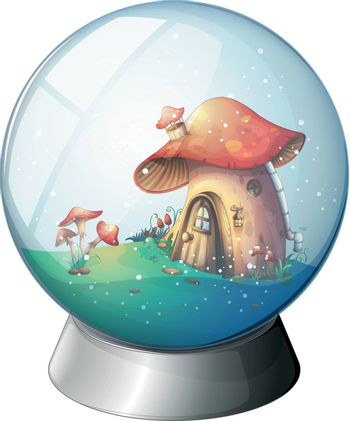 Illustration of a magic ball with a mushroom house on a white background