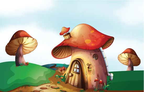 Illustration of a mushroom house at the top of the hill