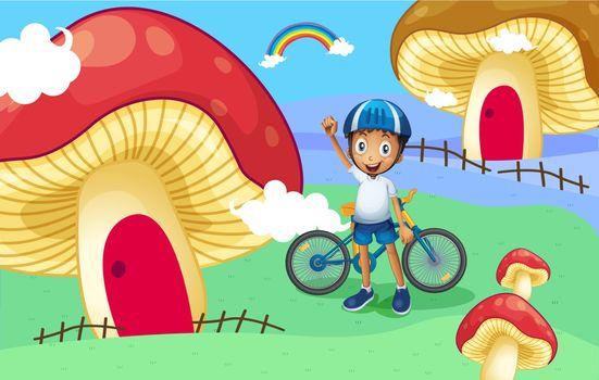 A young biker near the giant mushroom house