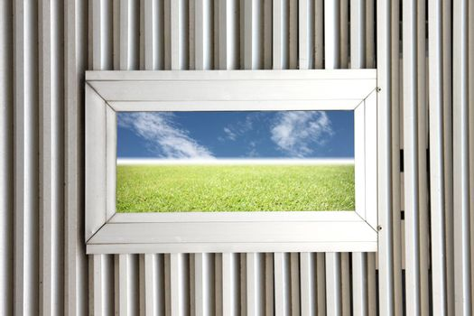 Aluminum windows on Aluminum Background and see the Picture of Natural scenery.