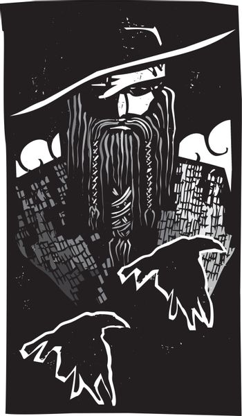 Woodcut style image of the Viking God Odin with two ravens