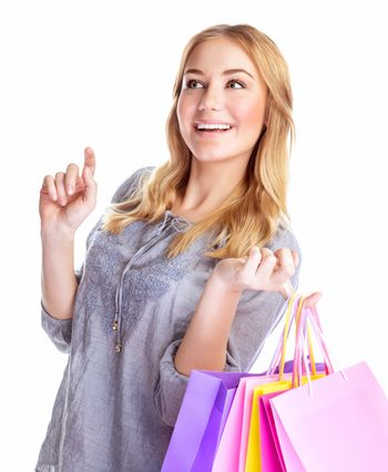 Cheerful female with paper bags