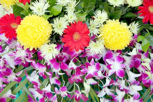 The Bouquet of colorful flowers,Inclusive Orchid,Marigold,Red-flowers and Yellow-flowers.