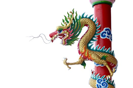 Gold color of Dragon statue on pillars on white background.