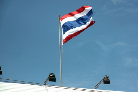 The Picture Thailand Flag on blue sky.