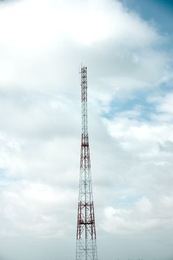 The Antenna array telephone on blue sky.