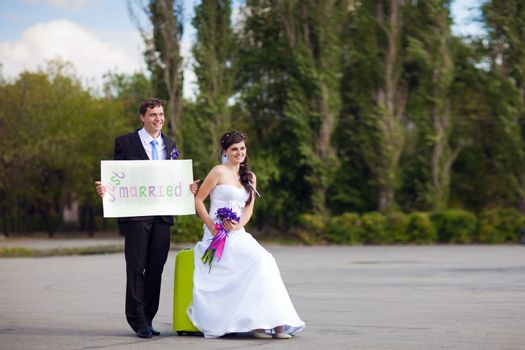"""couple with blank """"just married"""""""