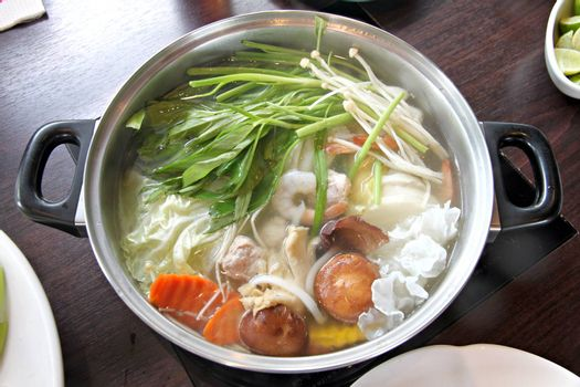 The Picture Hot Sukiyaki in pot.